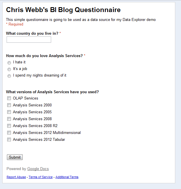 Using Google Docs Data Explorer And PowerPivot For Questionnaires - Google docs for personal use