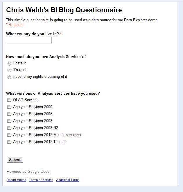 Using Google Docs Data Explorer And PowerPivot For Questionnaires - Google docs personal