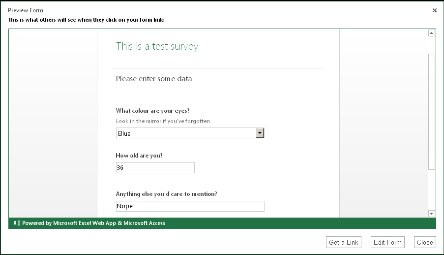 microsoft excel survey template