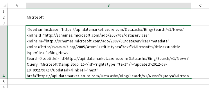 Importing Azure Marketplace Data into Excel 2013 with Web Queries