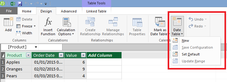 Chris webb 39 s bi blog automatically generating date for Table design tab excel