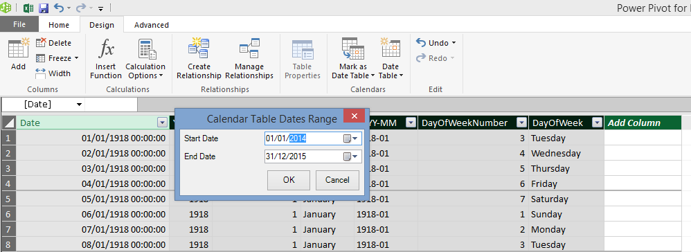 Automatically Generating Date Dimension Tables In Excel 2016