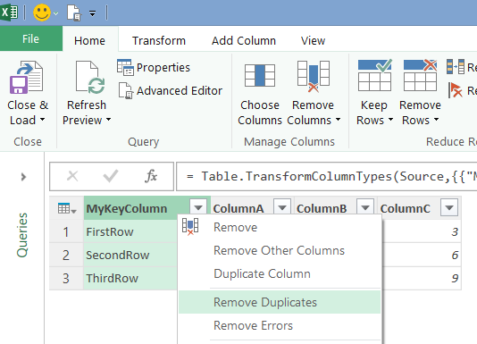 how to set primary key in excel