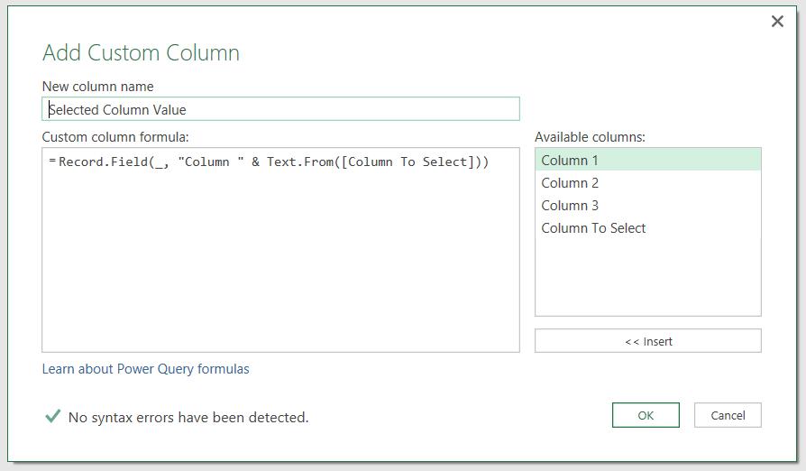 Dynamic Column Selection In Custom Columns In Power BI/Power Query/M
