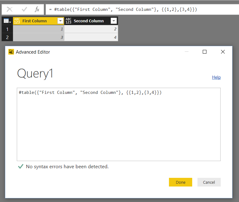 Creating Tables In Power BI/Power Query M Code Using #table