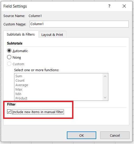 excel include new items in manual filter greyed out