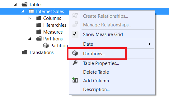 Creating A Partitioned Table In SSAS Tabular 2017 And SSDT